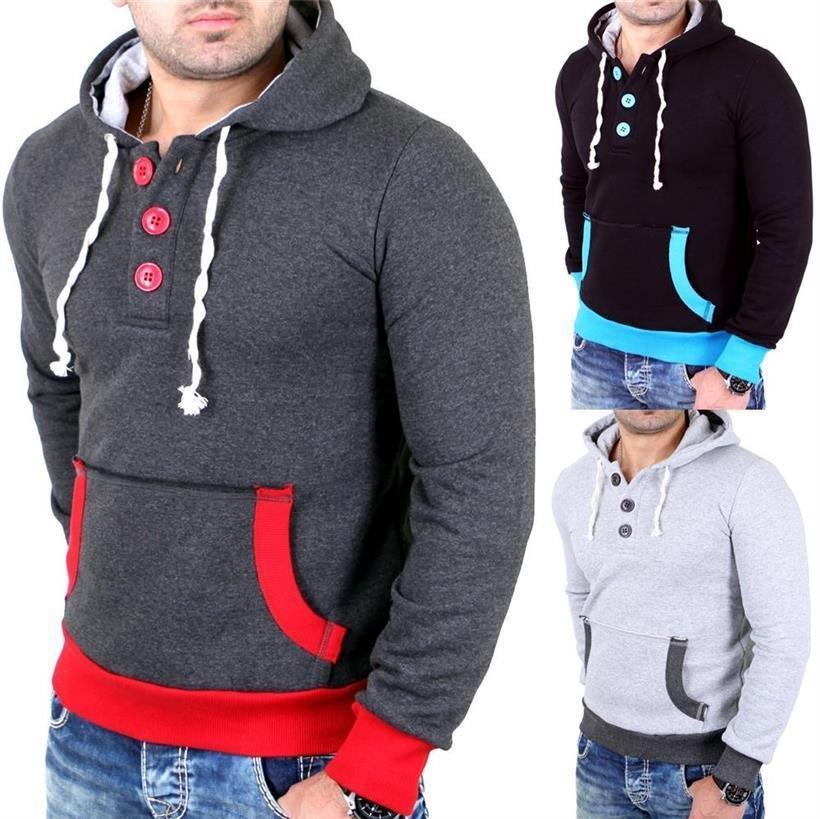 Reslad Herren Kapuzen-Pullover Kontrast-Farben Hoodie Sweatshirt RS-1102 NEU