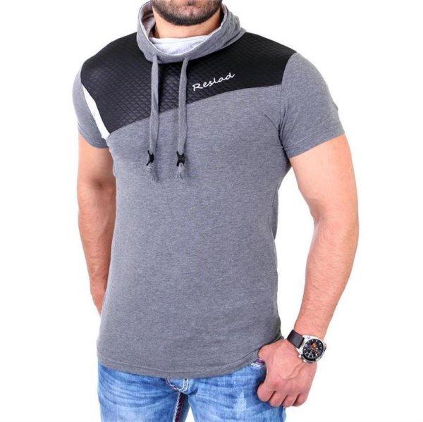 Reslad T-Shirt Herren Kunst- Leder Applikationen Schalkragen Shirt RS-05 Anthrazit M