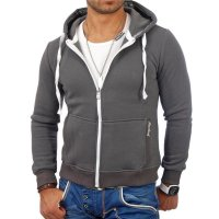 Reslad Herren Kapuzen Sweatjacke Chicago RS-1002 Anthrazit S