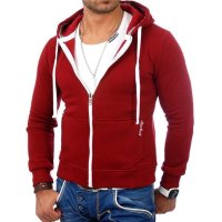 Reslad Herren Kapuzen Sweatjacke Chicago RS-1002 Bordeaux S