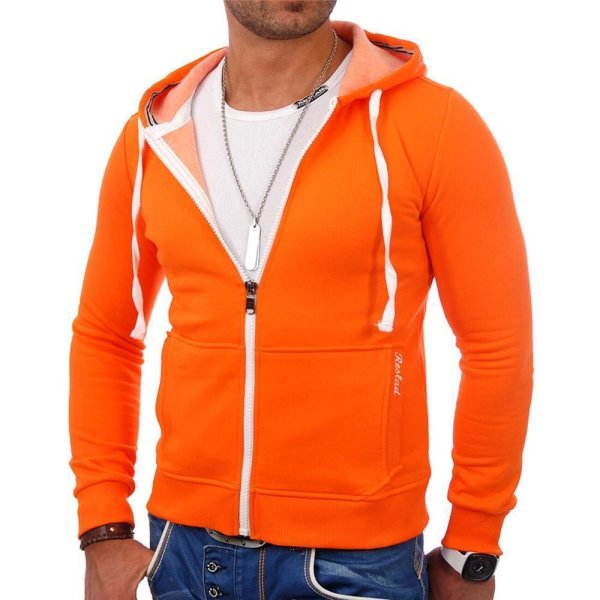 Reslad Herren Kapuzen Sweatjacke Chicago RS-1002 Orange M