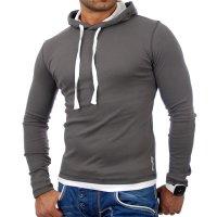 Reslad Herren Kapuzen Sweatshirt RS-1003 Anthrazit-Weiß S