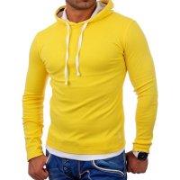 Reslad Herren Kapuzen Sweatshirt RS-1003 Gelb-Weiß M
