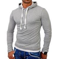 Reslad Herren Kapuzen Sweatshirt RS-1003 Grau-Weiß S
