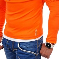 Reslad Herren Kapuzen Sweatshirt RS-1003 Orange-Weiß 2XL