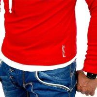 Reslad Herren Kapuzen Sweatshirt RS-1003 Rot-Weiß L