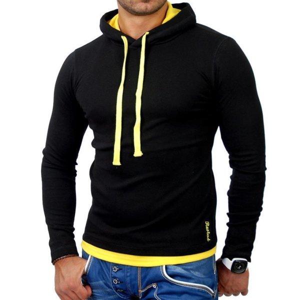Reslad Herren Kapuzen Sweatshirt RS-1003 Schwarz-Gelb 2XL