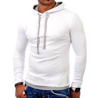 Reslad Herren Kapuzen Sweatshirt RS-1003 Weiß-Grau 2XL