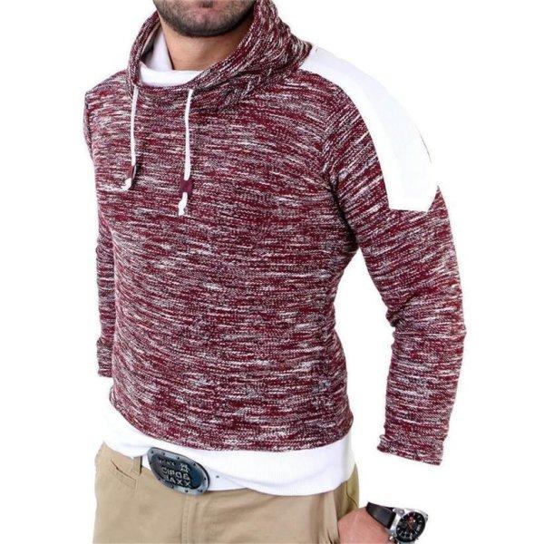 Reslad Herren Huge Collar Sweatshirt Pullover RS-105 Bordeaux XL