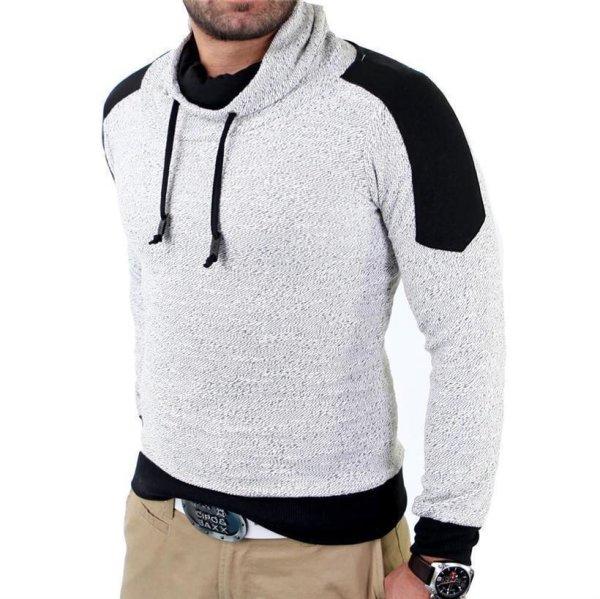 Reslad Herren Huge Collar Sweatshirt Pullover RS-105 Weiß S
