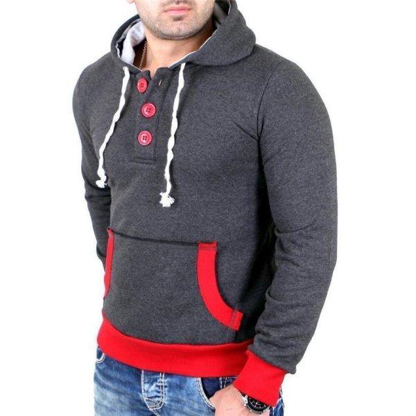 Reslad Pullover Herren Two-Tone Kontrast Kapuzen Hoodie RS-1102 Anthrazit-Rot L