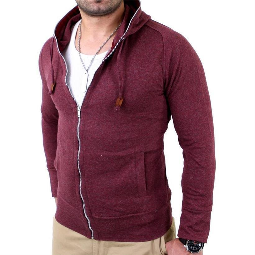 Reslad Herren Full Zipper Kapuzen Sweatjacke RS-1104 Bordeaux M