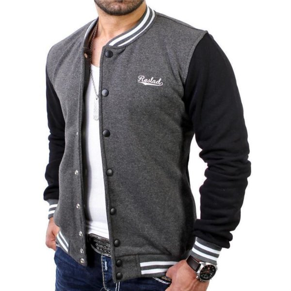 Reslad Herren Jacke Authentic Collegejacke RS-1150 Anthrazit-Schwarz 2XL