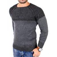 Reslad Strickpullover Herren Two Tone Rundhals Pullover Grobstrick RS-16081 Anthrazit XL