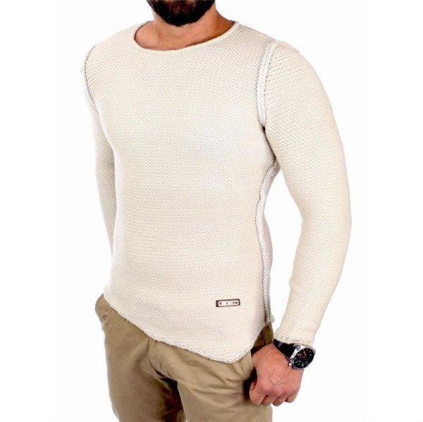 Reslad Strickpullover Herren Winter Grobstrick Rundhals Pullover RS-16088 Stone XL