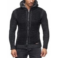 Herren Strickjacke warme Kapuzenjacke Fell-Kapuze Winter-Jacke RS-18002 Schwarz S