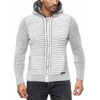 Herren Strickjacke warme Kapuzenjacke Fell-Kapuze Winter-Jacke RS-18002 Weiß S