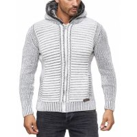Herren Strickjacke warme Kapuzenjacke Fell-Kapuze Winter-Jacke RS-18002 Weiß M