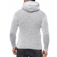 Herren Strickjacke warme Kapuzenjacke Fell-Kapuze Winter-Jacke RS-18002 Weiß M