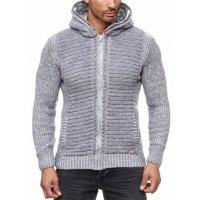 Herren Strickjacke warme Kapuzenjacke Fell-Kapuze Winter-Jacke RS-18002 Grau S
