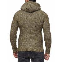 Herren Strickjacke warme Kapuzenjacke Fell-Kapuze Winter-Jacke RS-18002 Khaki M