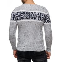 Herren Strickpullover Rundhals Norwegerpullover Muster RS-18003 Grau L
