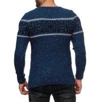 Herren Strickpullover Rundhals Norwegerpullover Muster RS-18003 Blau M