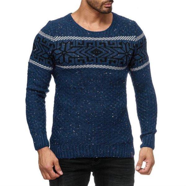 Herren Strickpullover Rundhals Norwegerpullover Muster RS-18003 Blau L