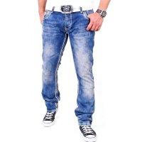 Reslad Herren Jeans Dicke Kontrast Doppel-Naht Used Look Jeanshose RS-2007 Blau-Camel W30 / L32