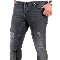 Reslad Jeans Herren Destroyed Look Slim Fit Denim Strech Jeans-Hose RS-2062 Schwarz W32 / L30