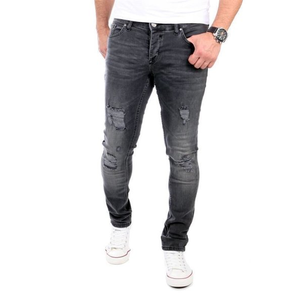 Reslad Jeans Herren Destroyed Look Slim Fit Denim Strech Jeans-Hose RS-2062 Schwarz W33 / L30
