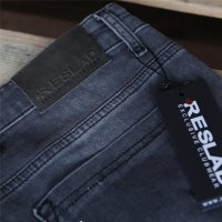 Reslad Jeans Herren Destroyed Look Slim Fit Denim Strech Jeans-Hose RS-2062 Schwarz W38 / L30