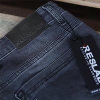Reslad Jeans Herren Destroyed Look Slim Fit Denim Strech Jeans-Hose RS-2062 Schwarz W33 / L32