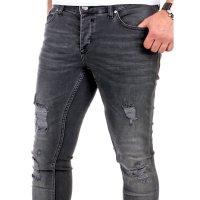 Reslad Jeans Herren Destroyed Look Slim Fit Denim Strech Jeans-Hose RS-2062 Schwarz W34 / L32