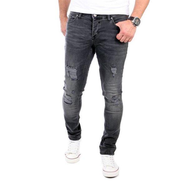 Reslad Jeans Herren Destroyed Look Slim Fit Denim Strech Jeans-Hose RS-2062 Schwarz W38 / L32