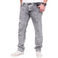 Reslad Jeans Herren Destroyed Look Slim Fit Denim Strech Jeans-Hose RS-2062 Grau W38 / L30