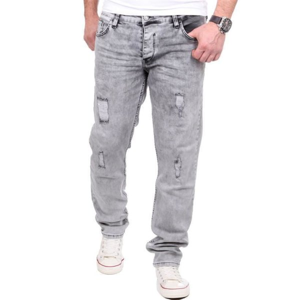 Reslad Jeans Herren Destroyed Look Slim Fit Denim Strech Jeans-Hose RS-2062 Grau W33 / L32