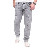 Reslad Jeans Herren Destroyed Look Slim Fit Denim Strech Jeans-Hose RS-2062 Grau W38 / L32