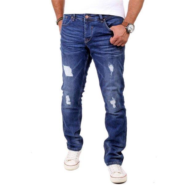 Reslad Herren Jeans Slim Fit Destroyed RS-2062 Blau W33 / L30