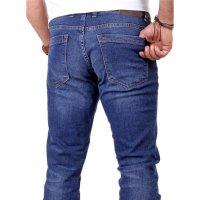 Reslad Herren Jeans Slim Fit Destroyed RS-2062 Blau W33 / L32