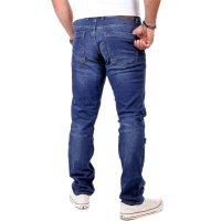 Reslad Herren Jeans Slim Fit Destroyed RS-2062 Blau W34 / L32