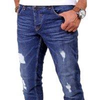 Reslad Herren Jeans Slim Fit Destroyed RS-2062 Blau W31 / L34
