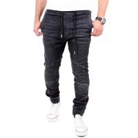 Reslad Jogg-Jeans Biker-Style Jeans-Herren Slim Fit Jogging-Hose RS-2068 Schwarz XL