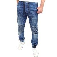Reslad Jogg-Jeans Biker-Style Jeans-Herren Slim Fit Jogging-Hose RS-2068 Blau M