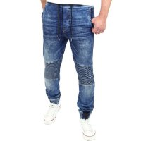 Reslad Jogg-Jeans Biker-Style Jeans-Herren Slim Fit Jogging-Hose RS-2068 Blau 2XL
