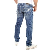 Reslad Jeans-Herren Destroyed Look Slim Fit Stretch Denim Jeans-Hose RS-2069 Blau W29 / L32