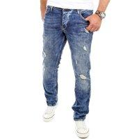 Reslad Jeans-Herren Destroyed Look Slim Fit Stretch Denim Jeans-Hose RS-2069 Blau W34 / L32