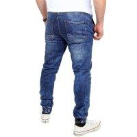 Reslad Casual Style Jeans-Herren Slim Fit Jogging-Hose RS-2071 Blau M