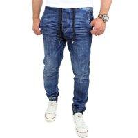 Reslad Casual Style Jeans-Herren Slim Fit Jogging-Hose RS-2071 Blau L
