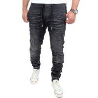 Reslad Casual Style Jeans-Herren Slim Fit Jogging-Hose RS-2071 Schwarz M
